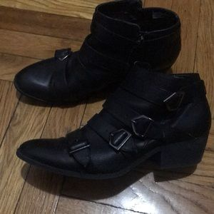 Sam & Libby black buckle bootie with low heel